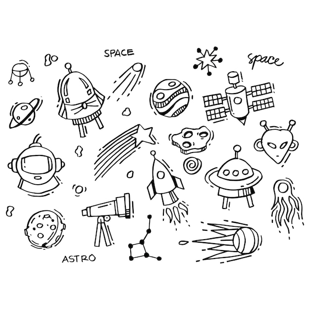 Collection of space doodles Premium Vector