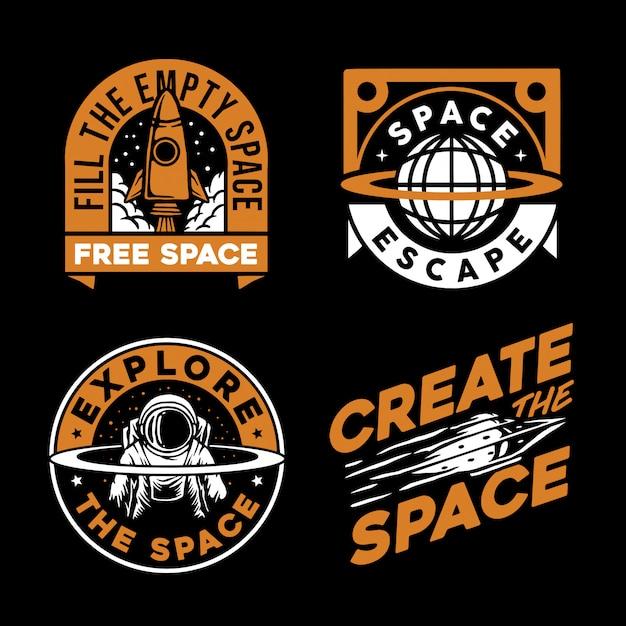 Collection of space logo Premium Vector