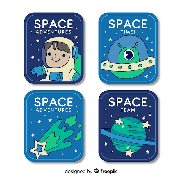 Collection on space sticker in flat design Free Vector