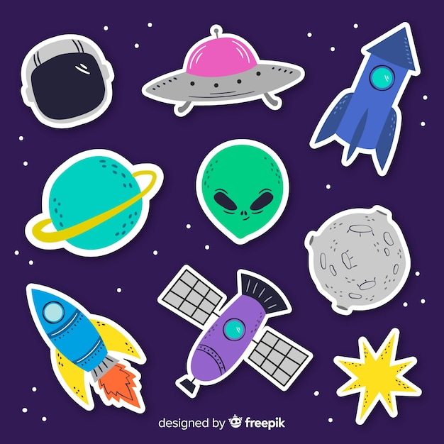 Collection of space stickers on flat design Free Vector