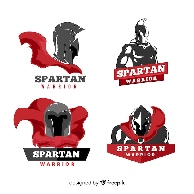 Collection of spartan labels Free Vector