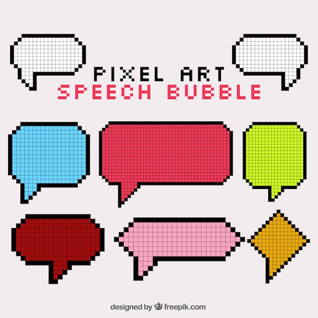 Collection Of Speech Bubbles In Pixel Art Style Vector