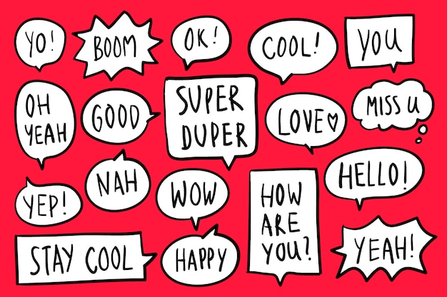 Collection of speech bubbles on red background vector Free Vector