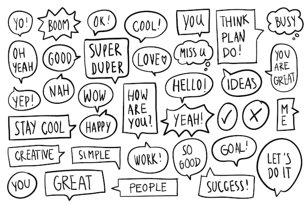 Collection of speech bubbles vector Free Vector