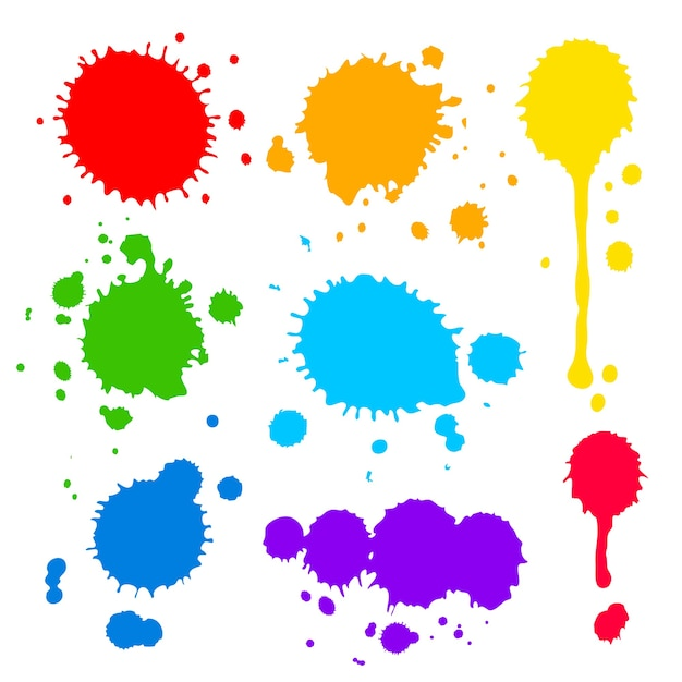 Collection of splats splashes and blobs Free Vector