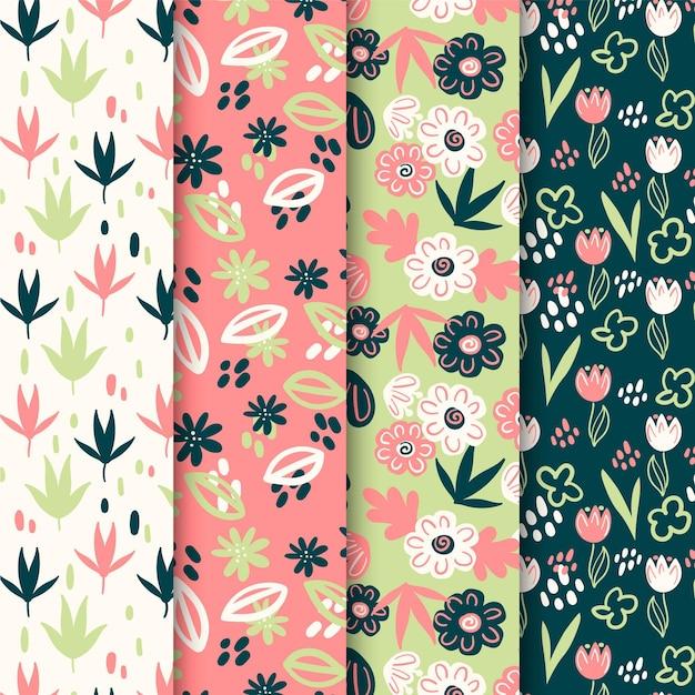Raccolta di fiori primaverili e foglie pattern Vettore gratuito