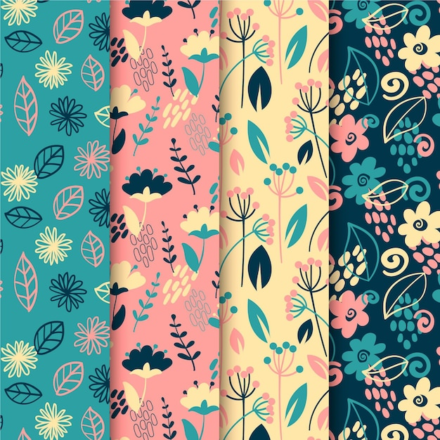 Collection of spring flowers and leaves pattern Free Vector