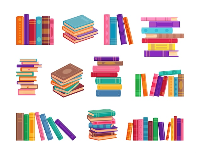 Collection of stack of book isolated on white Premium Vector