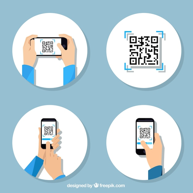 Collection of steps to use a qr code | Free Vector