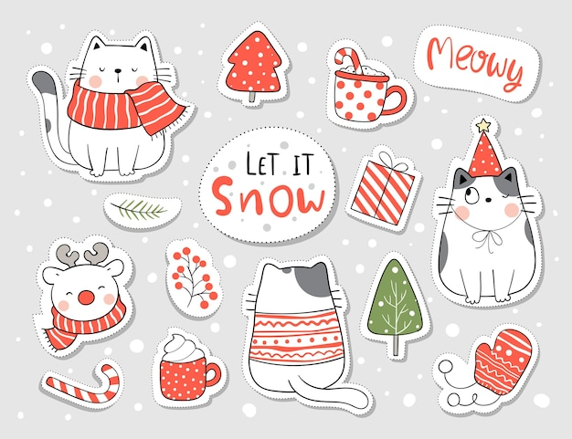 Collection stickers cat for christmas and new year. Premium Vector