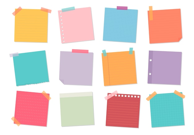 Collection of sticky note illustrations Free Vector