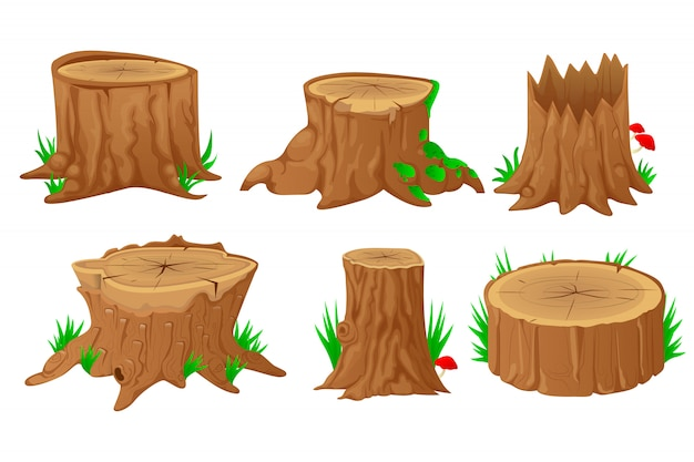 Collection of stumps with cartoon style Premium Vector