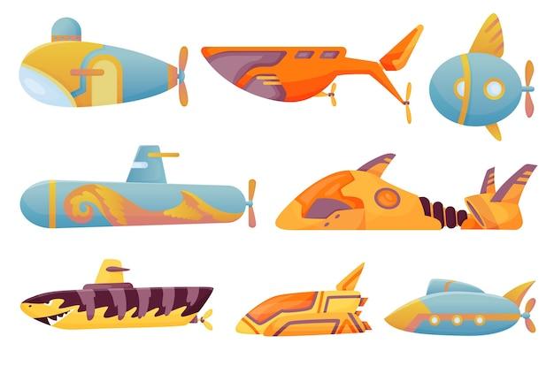 Collection submarines undersea. cute cartoon yellow submarines. Premium Vector