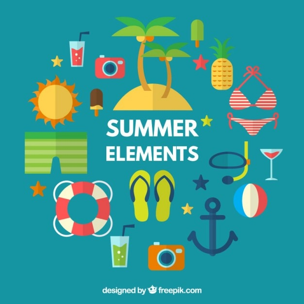 Collection of summer accessories and elements in flat design Free Vector