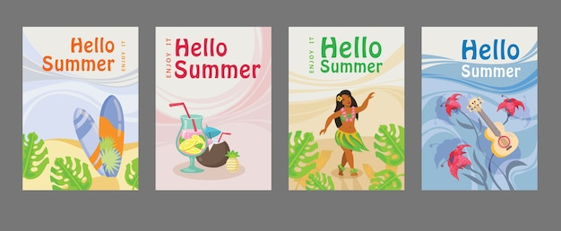Collection of summer posters with surfboard, cocktail, girl, guitar, ocean. hello summer inscription Free Vector