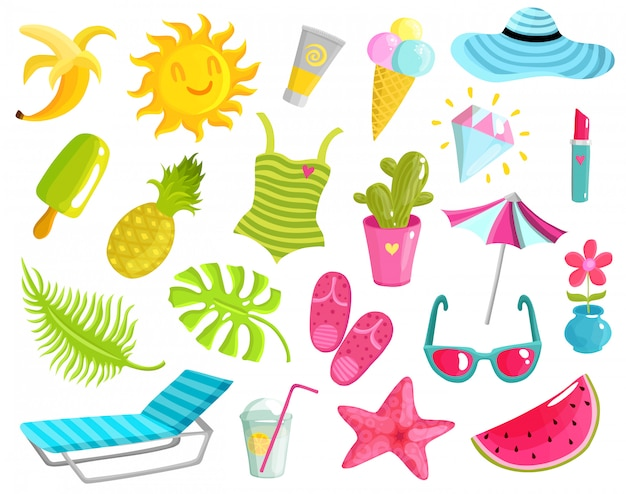 Collection of summer stuff Free Vector