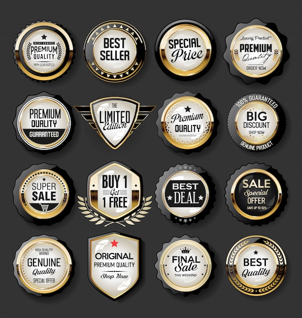 Collection of super sale and price badge and labels Premium Vector
