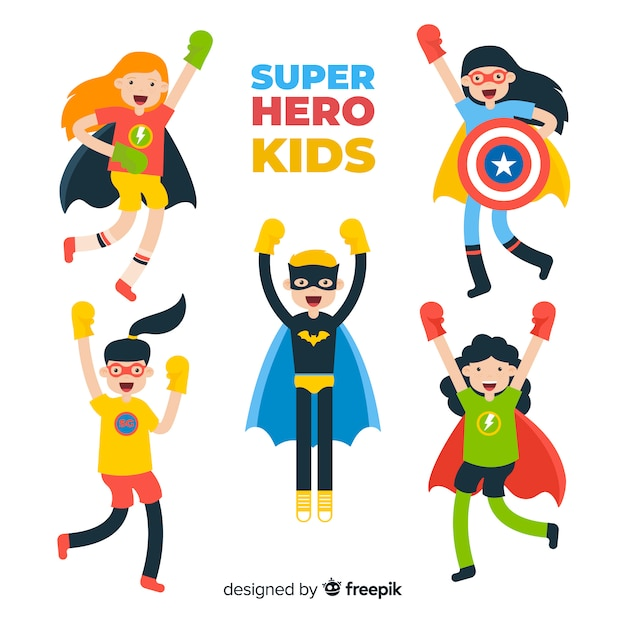 Collection of superhero kids Free Vector