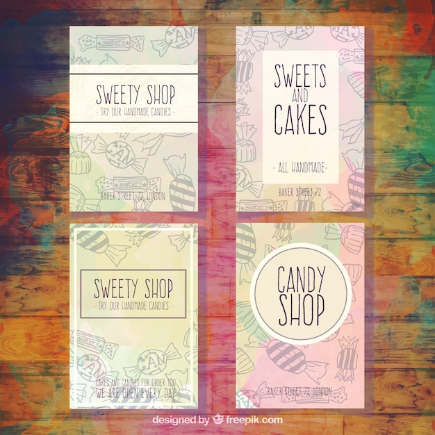 Collection of sweety shop flyer with drawings Free Vector