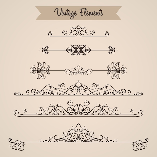 Collection of swirls ornaments decoration elements for invitation Premium Vector