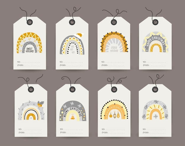 Collection of tags with festive shiny rainbows. printable cards templates. Premium Vector