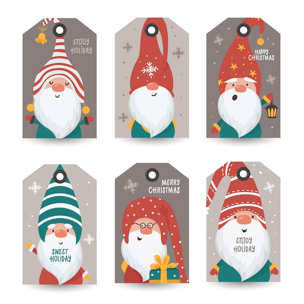 Collection of tags with gnomes and holiday wishes. printable cards templates. Premium Vector