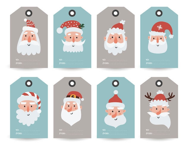 Collection of tags with santa, gnomes and holiday wishes. printable cards templates. Premium Vector