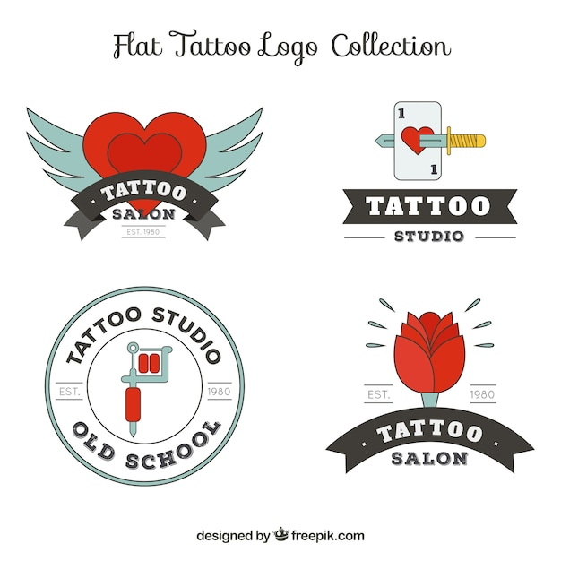 Collection of tattoo logos Free Vector