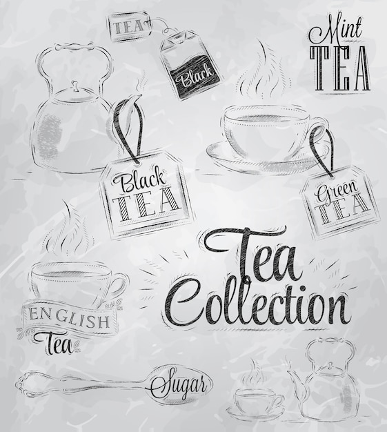 Collection tea coal Premium Vector