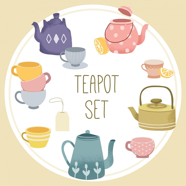 The collection of teapot set. Premium Vector