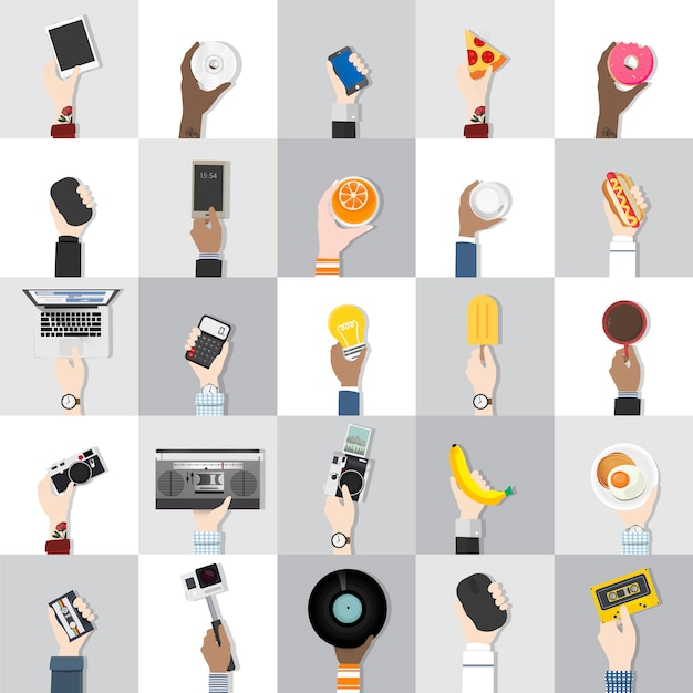 Collection of technology and food vectors Free Vector