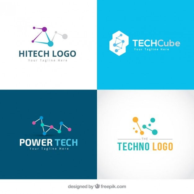 Collection of technology logos Free Vector