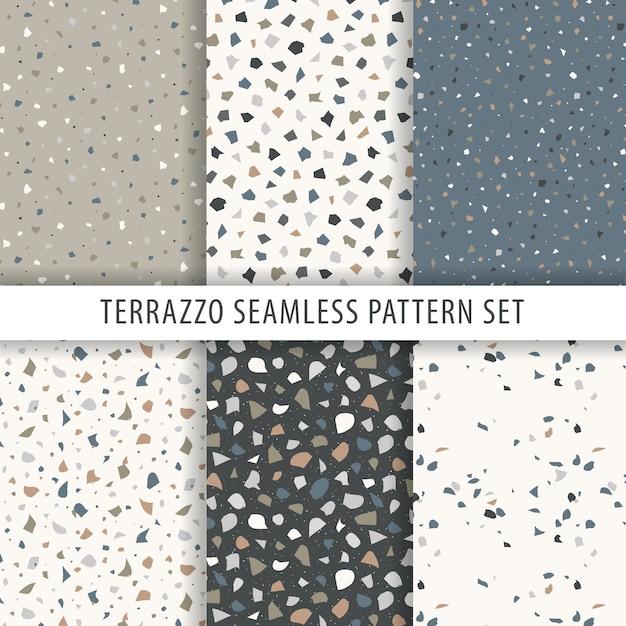 Collection of terrazzo pattern Premium Vector