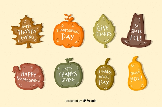 Collection of thanksgiving label in flat design Free Vector