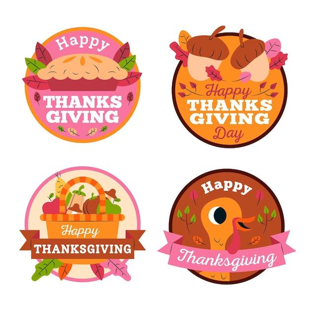 Collezione di etichette di ringraziamento in design piatto Vettore gratuito