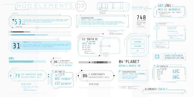 A collection of thin elements for the design of computer and software interfaces. Premium Vector