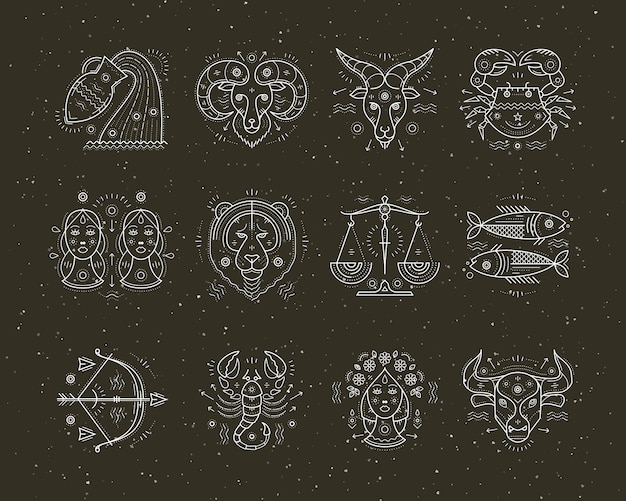 Collection of thin line astrology and zodiac symbols. graphic   elements. Premium Vector