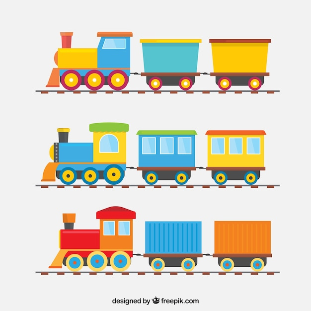 Collection of three colored trains with wagons Free Vector