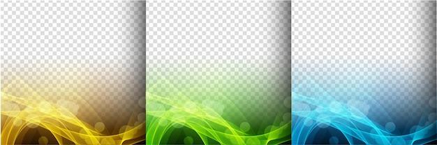 Una raccolta di tre vettore di sfondo trasparente colorato onda incandescente Vettore gratuito