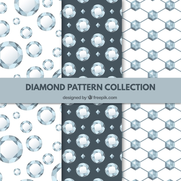 Collection of three diamond patterns Free Vector