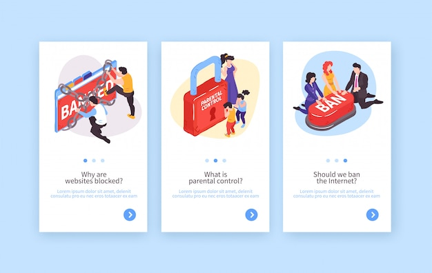 Collection of three isometric banned website vertical banners with conceptual images and editable text with buttons vector illustration Free Vector