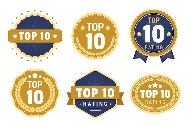 Collection of top 10 badges Free Vector