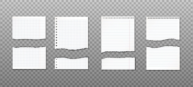 Collection of torn paper with different cuts. information reminder Free Vector