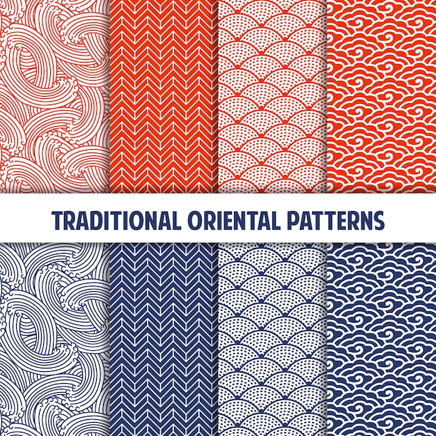 Collection of traditional japanese seamless patterns Premium Vector
