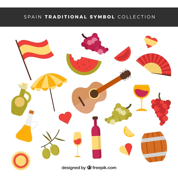 Collection of traditional spanish symbols Free Vector