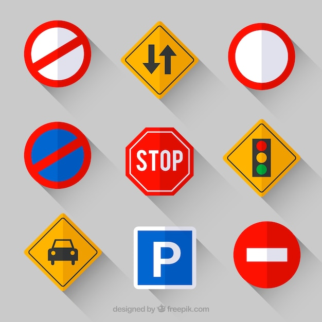 Collection of traffic sign in flat design Free Vector