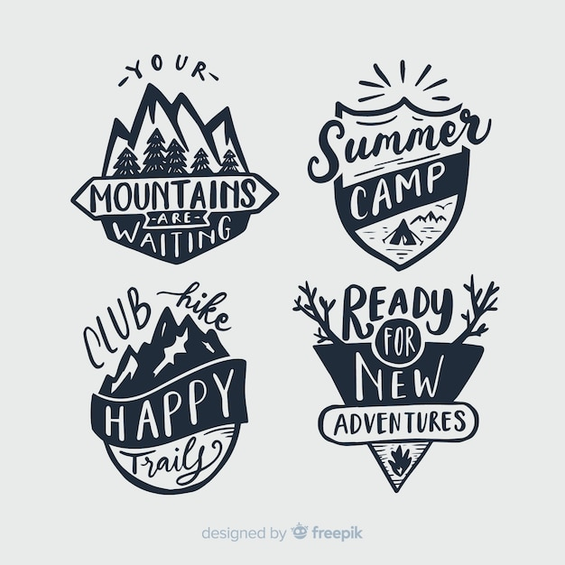 Collection of travel lettering badges Free Vector