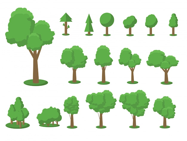 Collection of trees illustrations. can be used to illustrate any nature or healthy lifestyle topic. Premium Vector