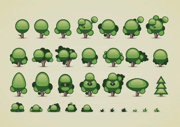 Collection of trees for video games Premium Vector