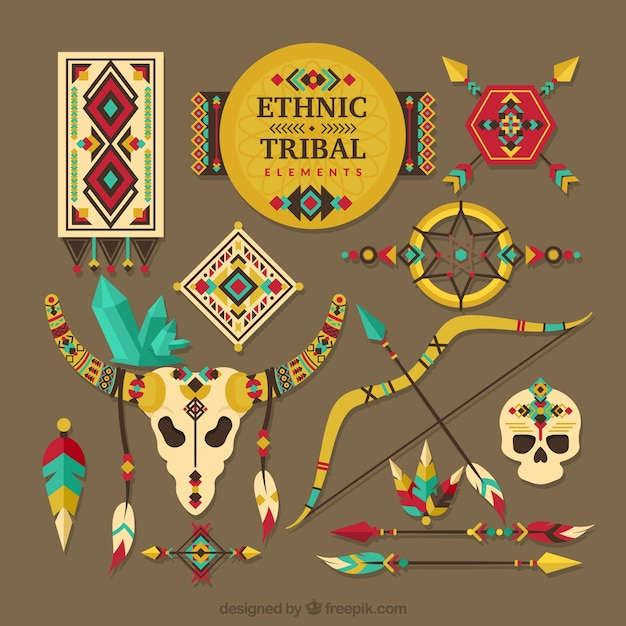 Collection of tribal elements Free Vector
